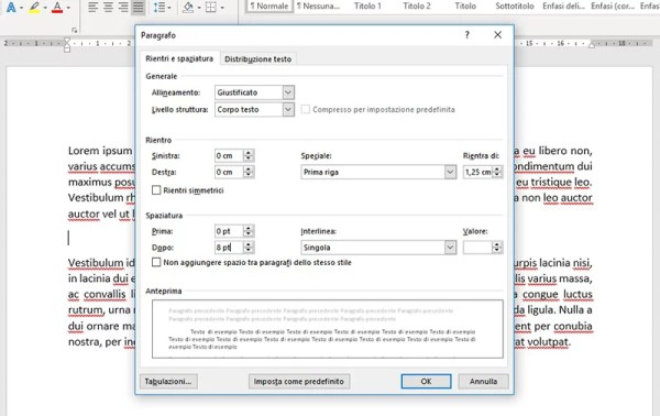 Rientri e spaziature in Microsoft Word