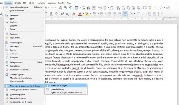 Inserire note a piè di pagina in Libre Office