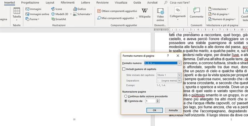inserimento numeri di pagina diversi per sezione