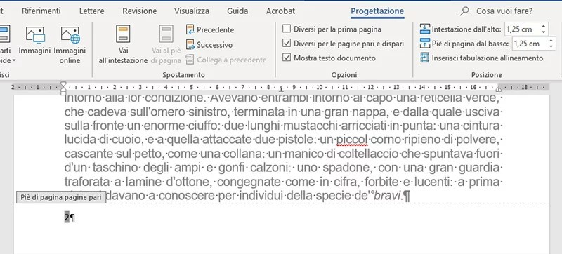 numeri di pagina in word allineati a sinistra