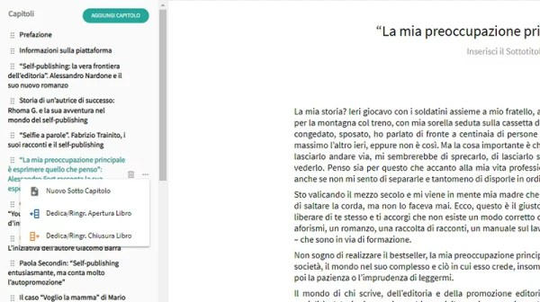 page di youcanprint come aggiungere un sottocapitolo