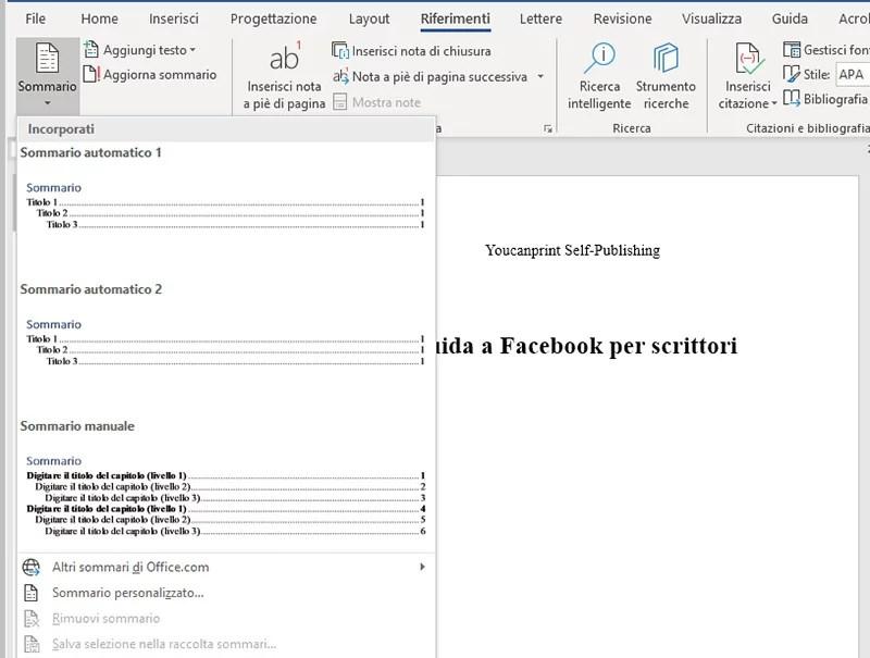 Come fare l'indice con Microsoft Word 2