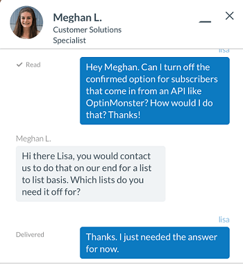 AWeber customer support chat