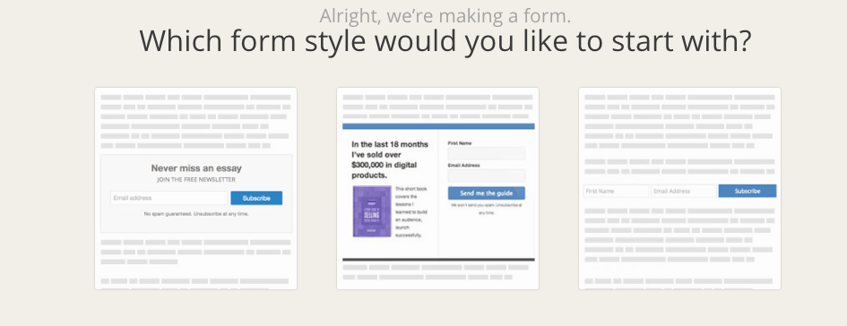 3 Forms to choose from in convertkit