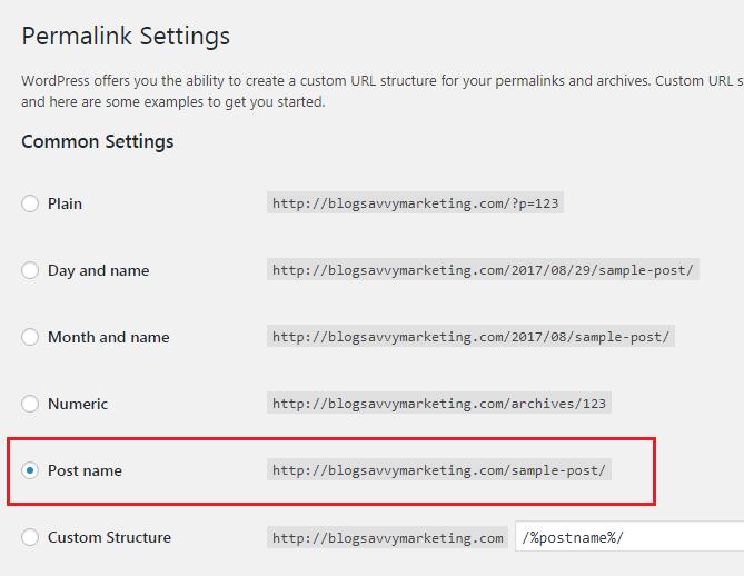 SEO friendly permalink settings