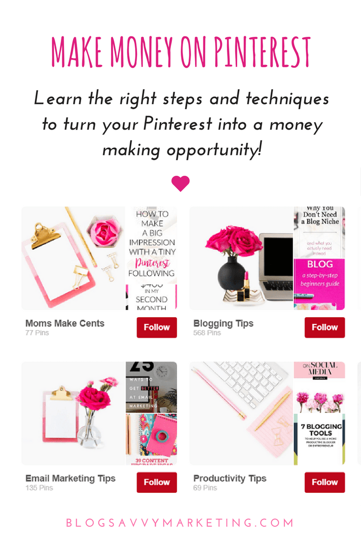Learn the Pinterest steps and techniques to turn Pinterest into a money making opportunity for your blog