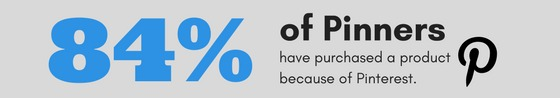 87% of Pinners have purchased a product because of Pinterest