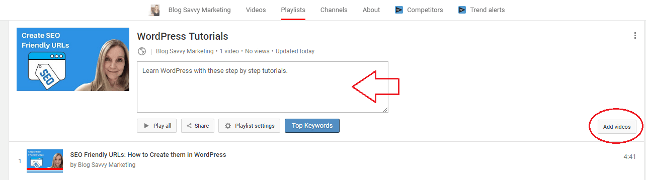 how to change description for youtube channel