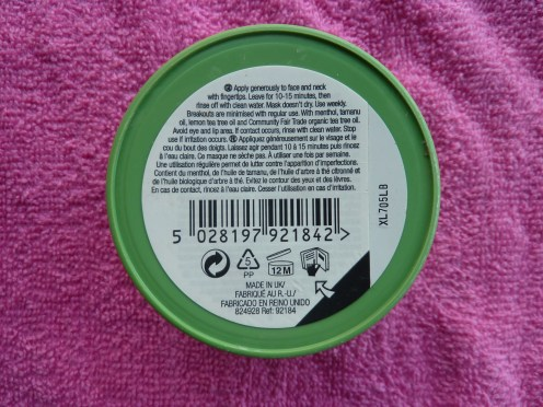 The Body Shop's tea tree face mask