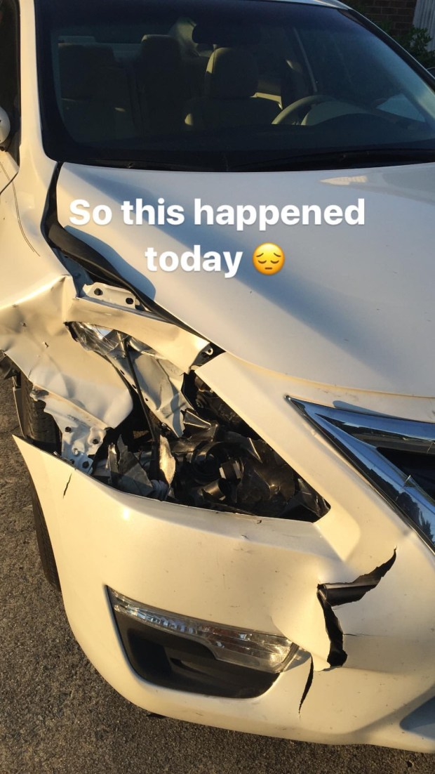 my poor car smashed by a rogue deer