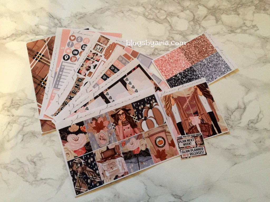 Glam Planner Blushing Fall weekly planner kit