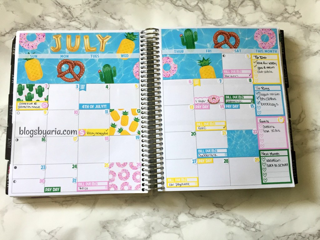 Caress Press July monthly planner spread