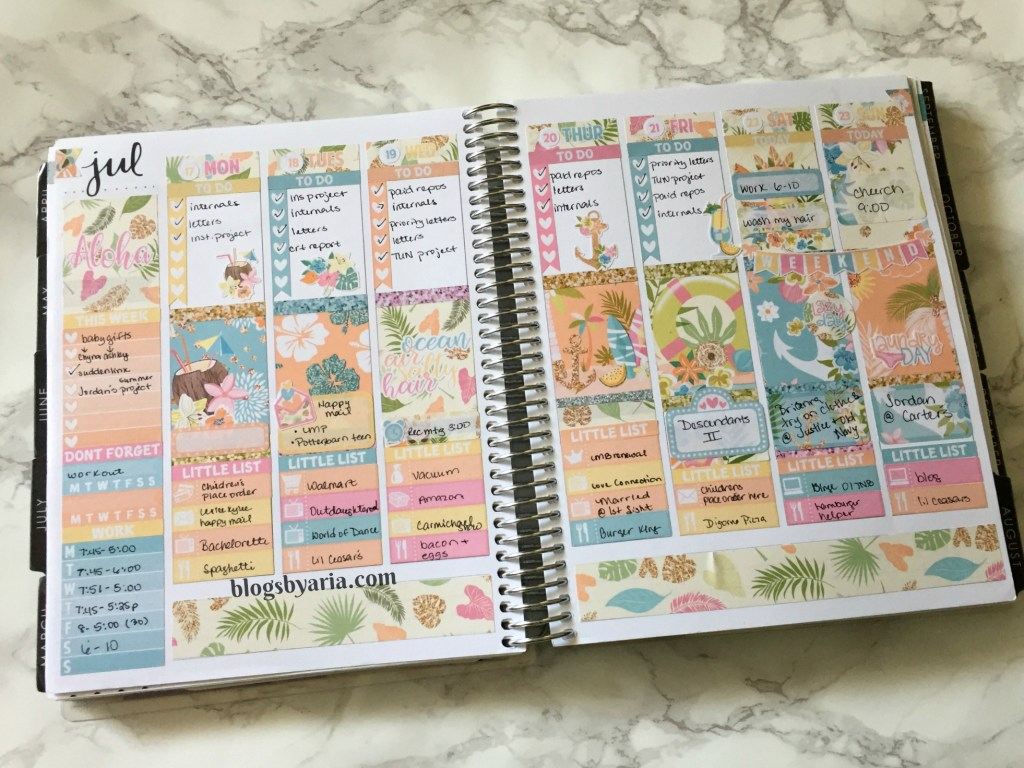 Little Miss Paperie Aloha weekly planner spread. planner stickers.