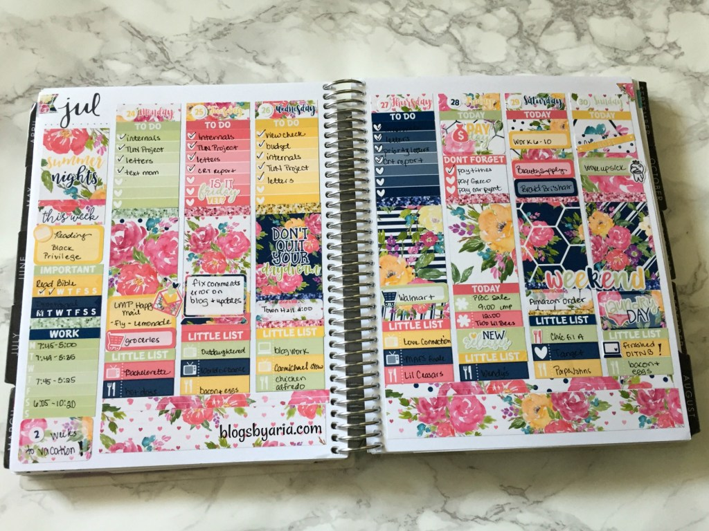 Summer Nights Little Miss Paperie planner spread Life Planner Happy Planner weekly spread planner kits