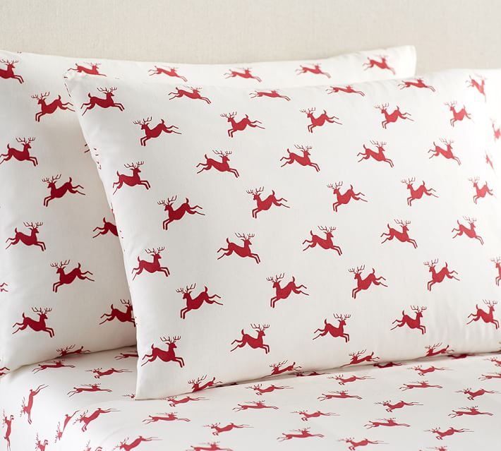 POTTERY BARN JUMPING REINDEER ORGANIC FLANNEL SHEET SET
