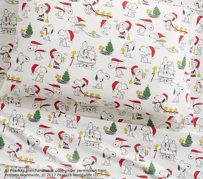 Pottery Barn Kids Organic Flannel Peanuts Christmas Sheet Set