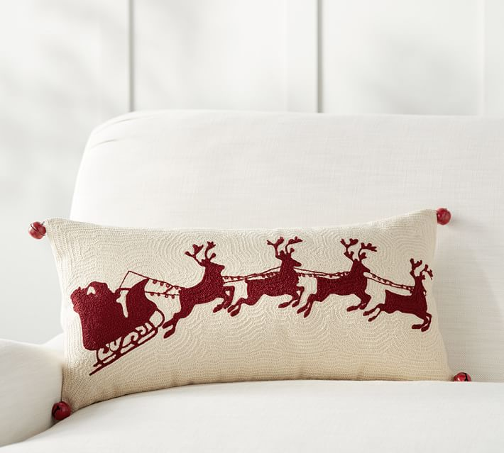 SLEIGH BELL CREWEL EMBROIDERED LUMBAR PILLOW