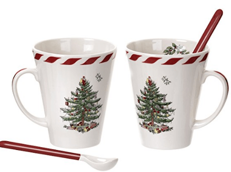 Spode Christmas Tree Peppermint Mugs with Spoons, set of 2 Hostess Gift Idea