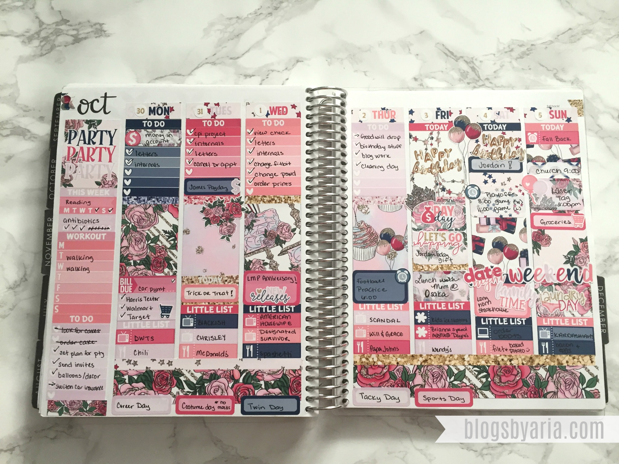 Birthday Week Planner Spread -- Little Miss Paperie