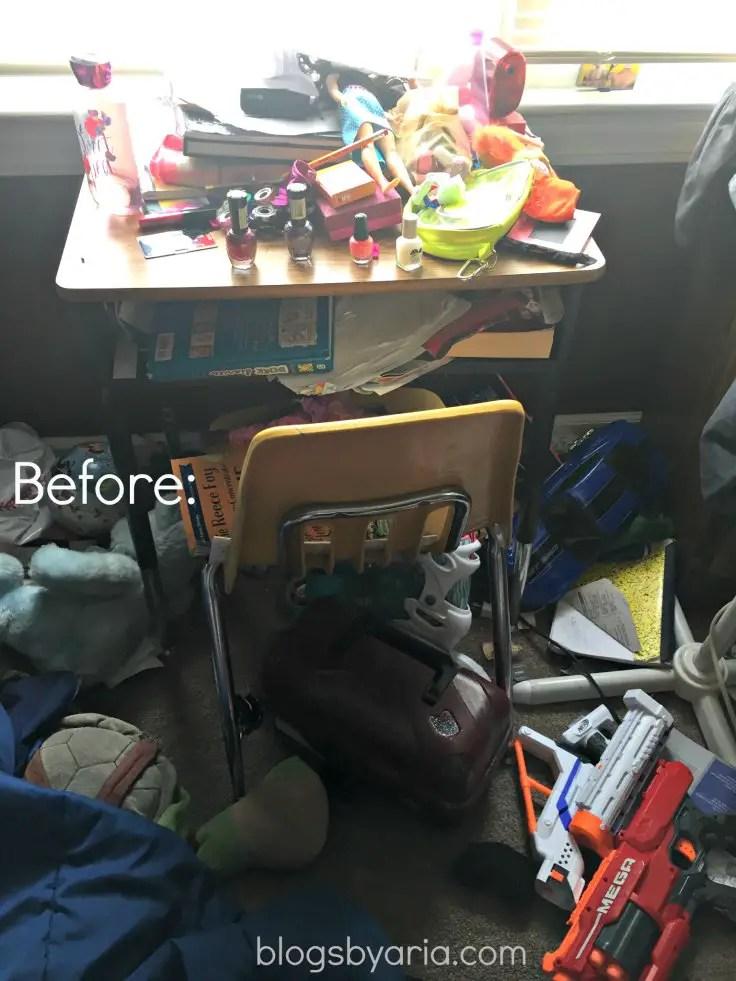 decluttered kids room desk before