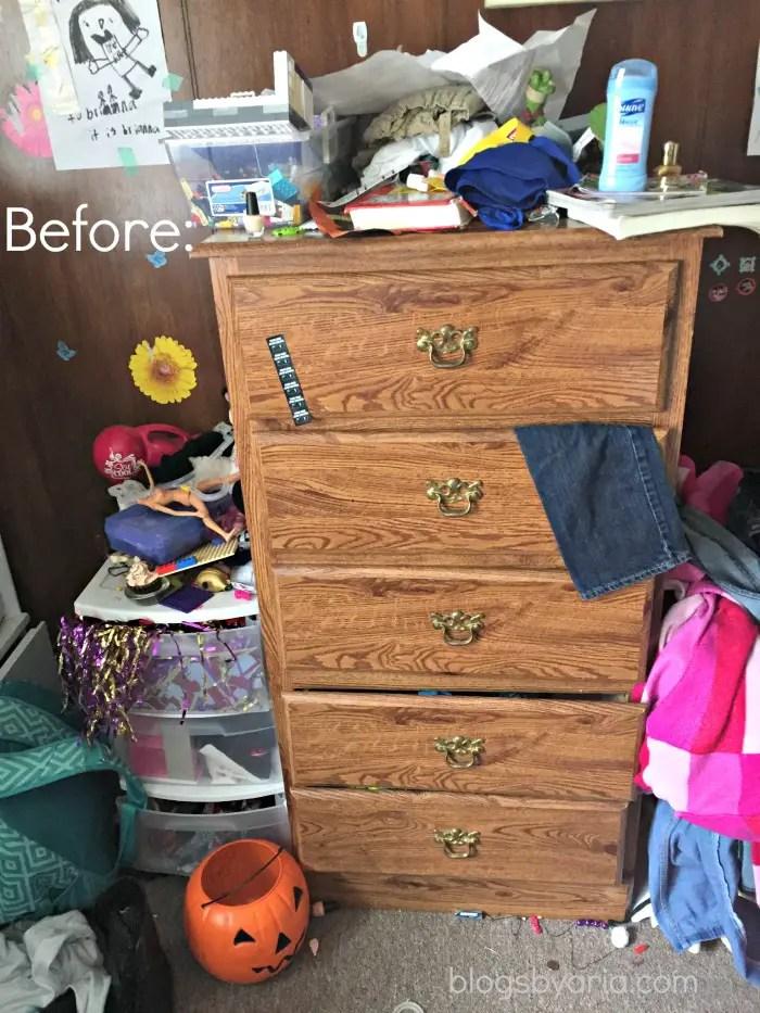 decluttered kids room dresser before