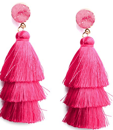 Colorful Layered Tassel Earrings Bohemian
