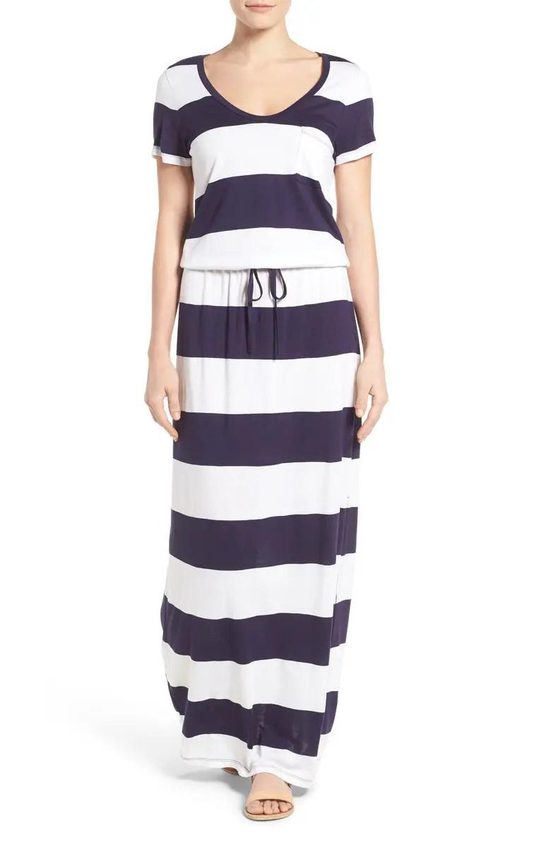 Drawstring V-Neck Jersey Maxi Dress