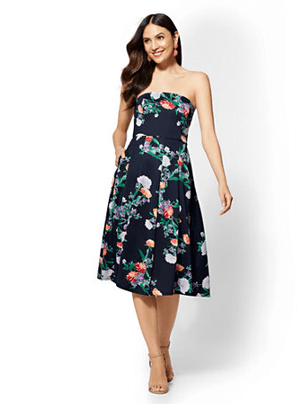 Floral Strapless Flare Dress