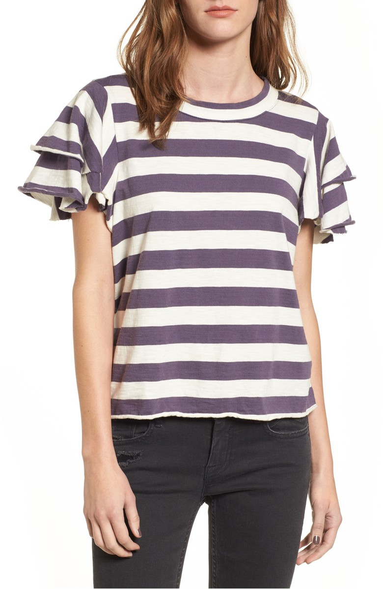 Flutter Sleeve Tee with stripes