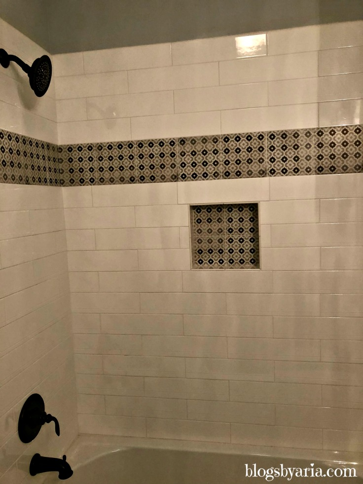 subway tile shower detail and trim
