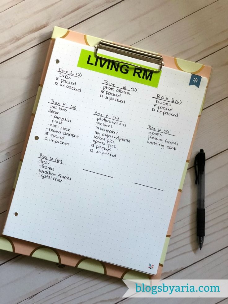 How to stay organized while packing to move by keeping a moving inventory list