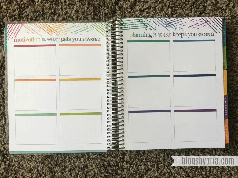 goals pages in the Erin Condren Deluxe Monthly Planner