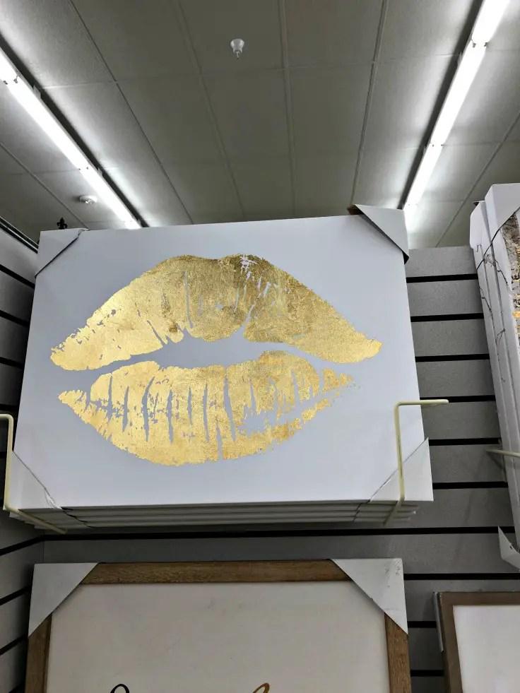 Gold Lip Canvas Art