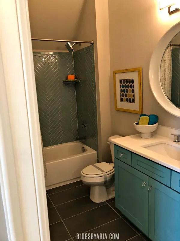turquoise kid bathroom