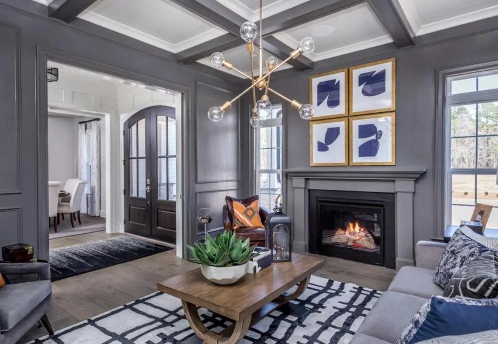 dark gray living room