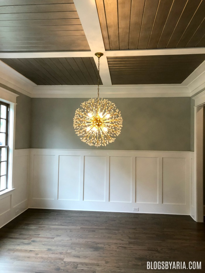 dining room details, wood beamed ceilings and wainscoting