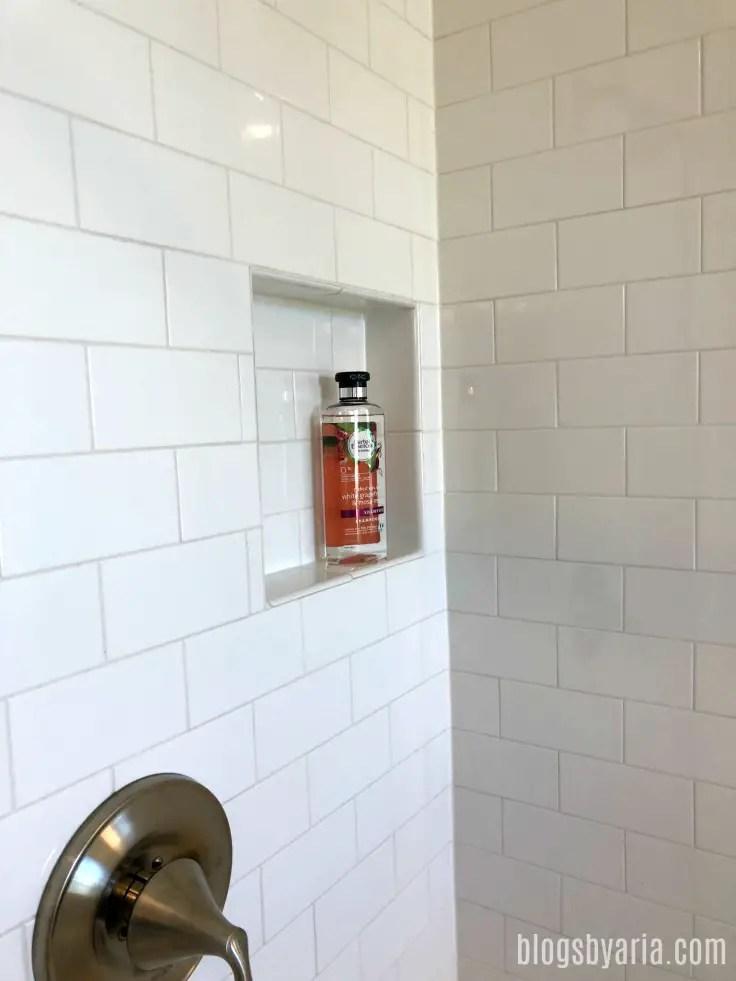 subway tile shower niche