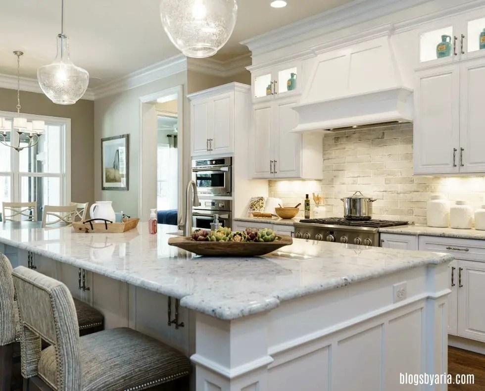 stone backsplash white kitchen design ideas