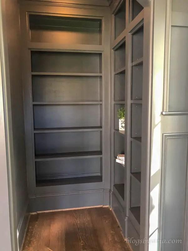 built in walk in bookshelves in the study