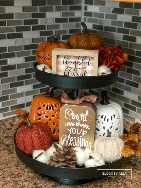 harvest tiered tray decor