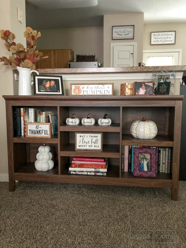 fall home decorated shelves