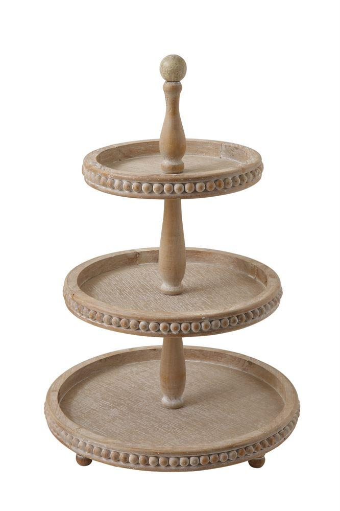 wooden beaded three tier tray stand