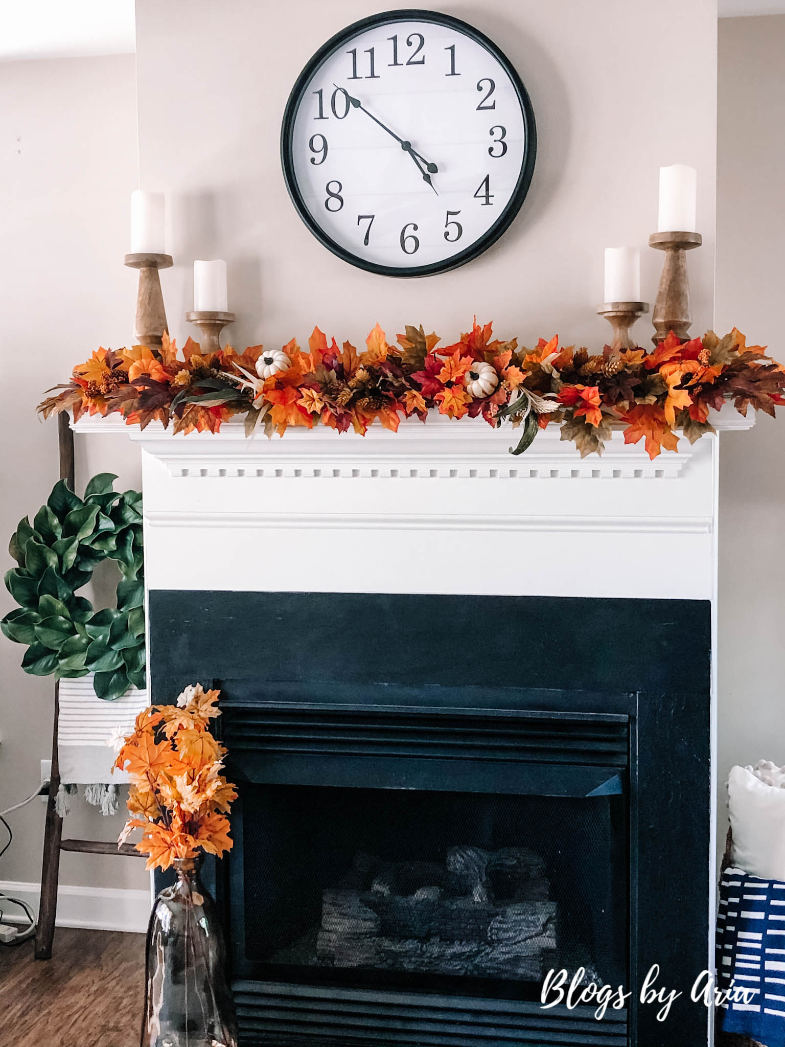 fall mantle decorating progress