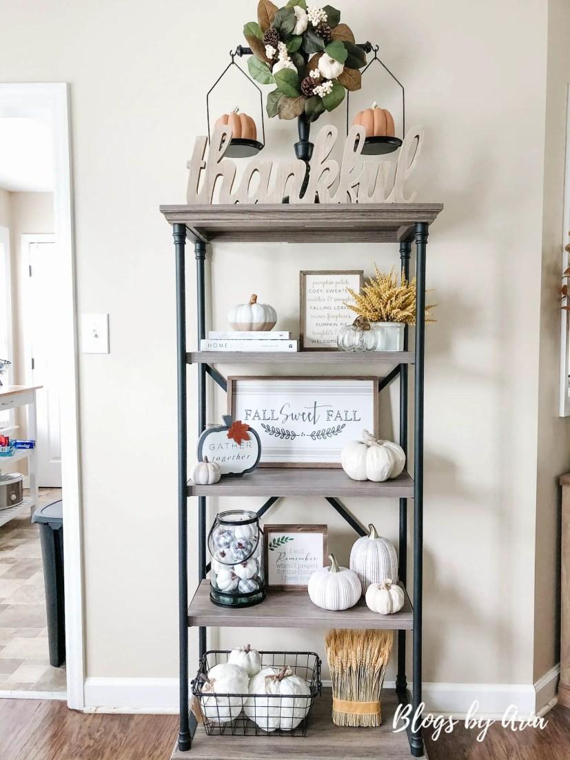 styling bookshelf for fall