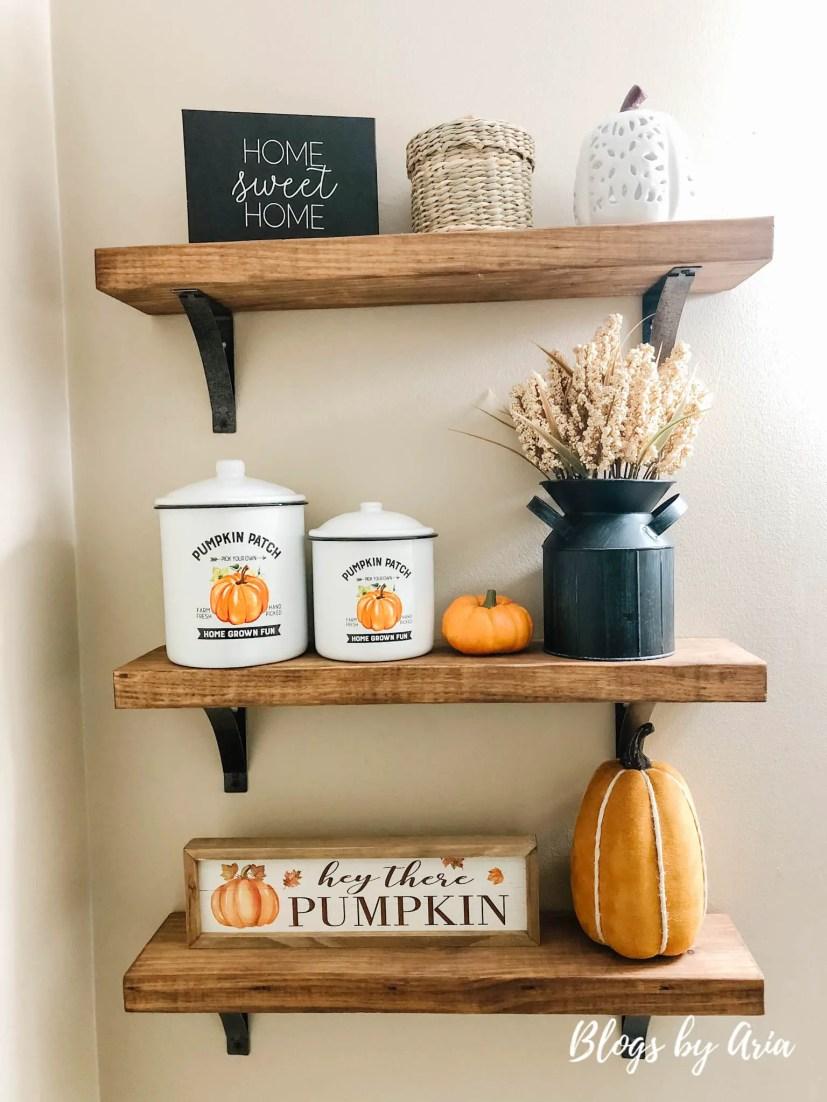 pumpkin styled shelves