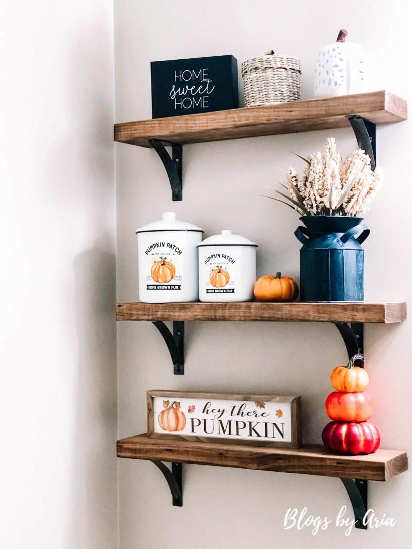 fall farmhouse shelves