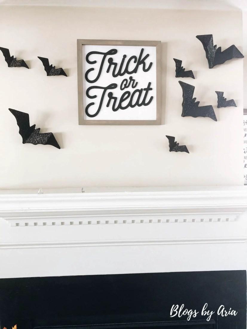 halloween bats on fireplace