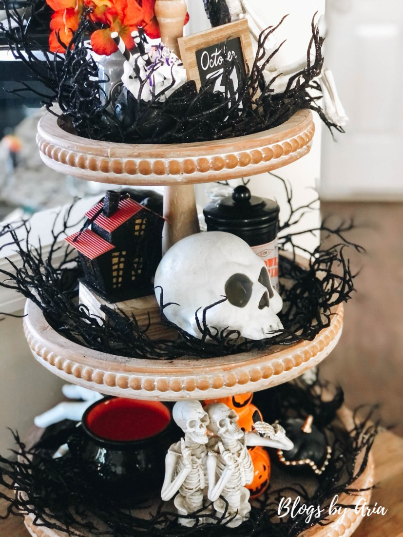 skeleton tiered tray for halloween