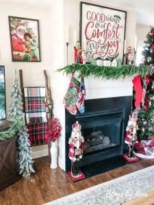 Tartan Plaid and Nutcracker Christmas Living Room