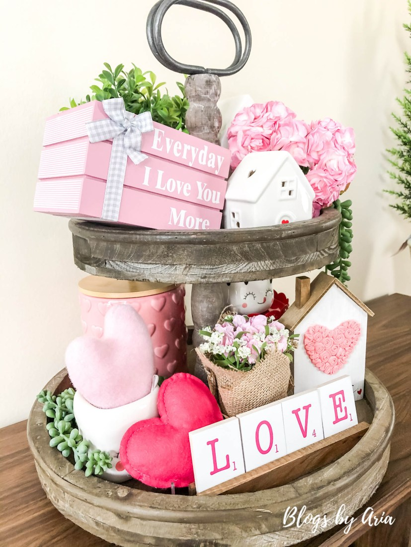styling a tier tray for valentines day